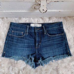 A & F Dark Rinse High Rise Denim Shorts